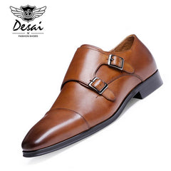 DESAI Brand Luxury Genuine Leather Men Oxford Shoes Pointed Toe Men Dress Shoes With Double Buckle Male Wedding Shoes - Coolmart.us