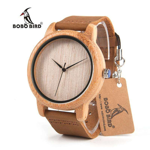 BOBO BIRD Men's Bamboo With Genuine Cowhide Leather Band