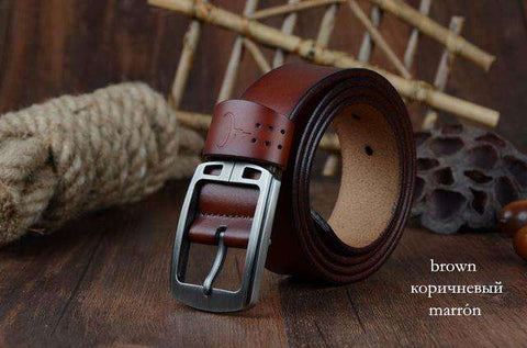 COWATHER cowhide genuine leather belts for men brand Strap male pin buckle vintage jeans belt 100-150 cm long waist 30-52 XF001 - Coolmart.us