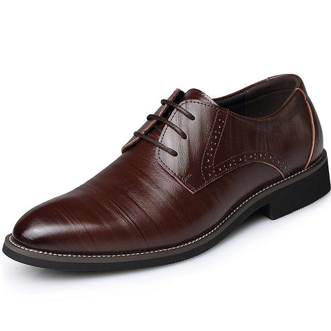 Plus Size 38-45 Men Leather Dress Shoes 2017 Fashion Wedding Shoes Breathable Business Shoes Lace-up Flat Shoe Mens Oxfords Hot