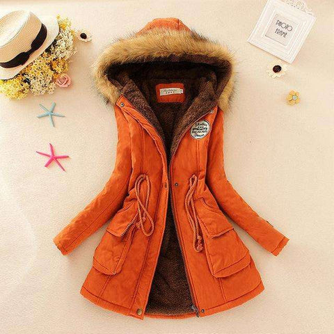 Women Winter Jacket Faux Fur Collar Size S-XXXL