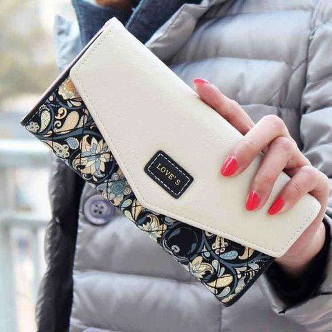 2017 New Fashion Flowers Envelope Women Wallet Hot Sale Long Leather Wallets Popular Change Purse Casual Ladies Cash Purse - Coolmart.us