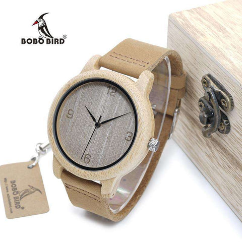 BOBO BIRD Women's Antique Round Bamboo Watch With Leather Strap