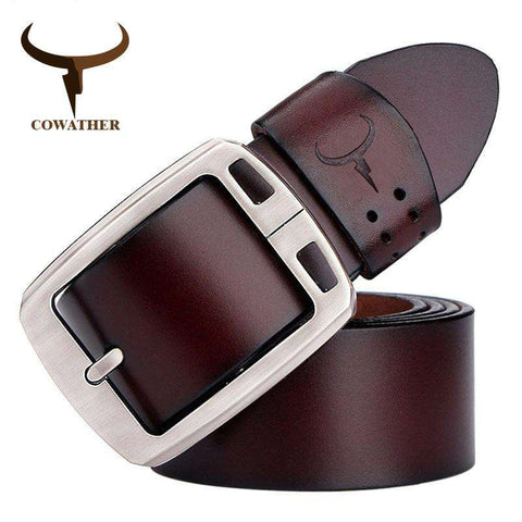 COWATHER cowhide genuine leather pin buckle vintage jeans belt for men