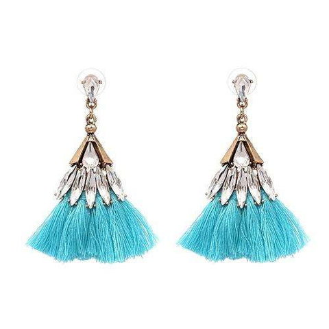 JUJIA 10 colors crystal cotton tassel earrings fashion women statement dangle drop Earrings for women Fringing earrings jewelry - Coolmart.us