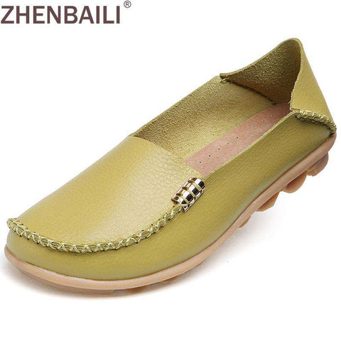Hight Quality Genuine Leather Women Casual Shoes 2017 Fashion Candy Colors Comfortable Slip-on Peas Massage Flat Shoes Plus Size - Coolmart.us