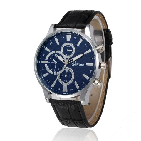 Geneva Quartz Men Relojes Business PU Leather Wristwatches