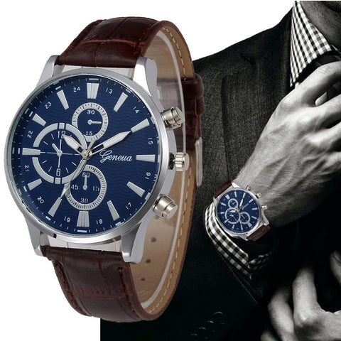 Geneva Quartz Men Relojes Business PU Leather Wristwatches - Coolmart.us