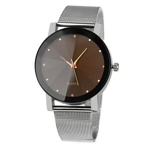 Men Stainless Steel Crystal Quartz-Watch