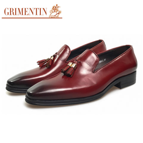GRIMENTIN Brand tassel men shoes dress black italian fashion wedding male shoes 2017 - Coolmart.us