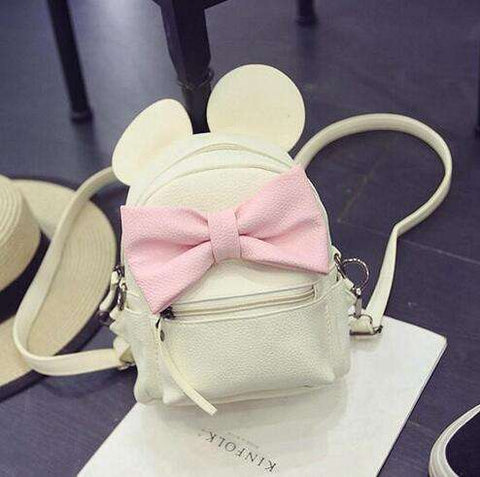 2017 New Mickey Backpack Pu Leather Female Mini Bag Women's Backpack Sweet Bow Teen Girls Backpacks School Bag Lady Shoulder bag - Coolmart.us