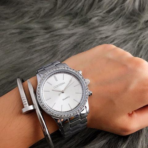 2017 New Contena Quartz-watch Women Dress Watches Luxury Fashion Brand Ladies Metal Bracelet Stainless Steel Vogue Watches - Coolmart.us