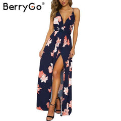 Image of BerryGo Boho deep V neck backless long women dress