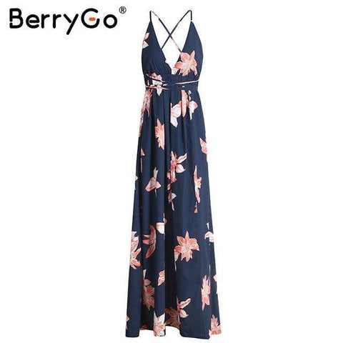 BerryGo Boho deep v neck backless long women dress Chiffon split cross lace up summer dress Sleeveless beach maxi dress vestidos - Coolmart.us
