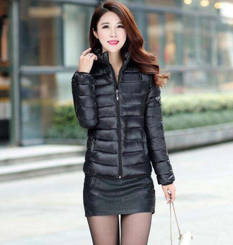 OAIRED Women Parka Short Slim Thickening Down Cotton-padded Jacket