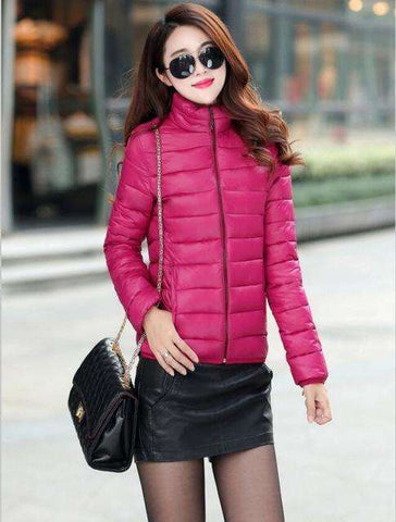 OAIRED Winter Jacket Coat Women 2017 New Winter Women Parka Short Slim Thickening Down Cotton-padded Jacket Female Outerwear Red - Coolmart.us