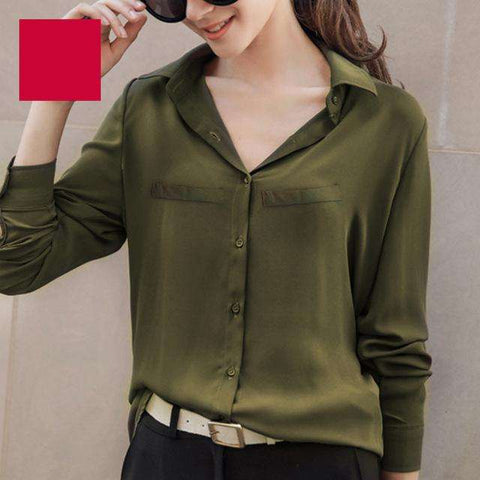 Long Sleeved Solid Shirt Plus Size Blouses - Coolmart.us