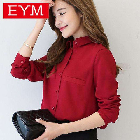 Long Sleeved Solid Shirt Plus Size Blouses