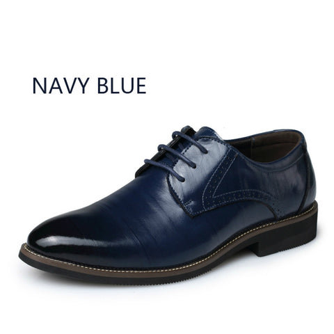 BIMUDUIYU High Quality Oxford Shoes Men Brogues Shoes Lace-Up Bullock Business Dress Shoes Male Formal Shoes Plus Size 38-48 - Coolmart.us
