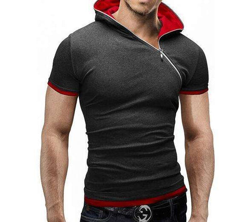 WSGYJ Men's Hooded Collar Sling Tops & Tees T Shirt