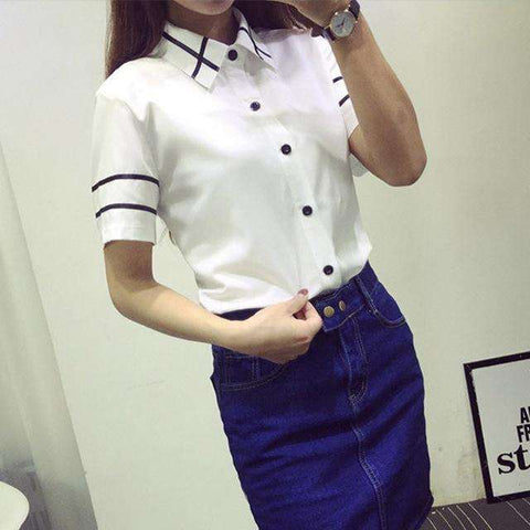 Blusas Ladies OL Elegant Women 2017 Autumn Korean Style Long Sleeve Sequin Chiffon Ladies Office Shirt White Blue Tops Formal S3 - Coolmart.us