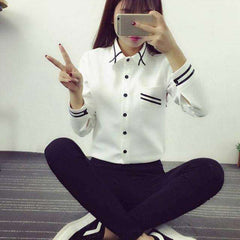 Elegant Women Korean Style Long Sleeve Chiffon Office Shirt