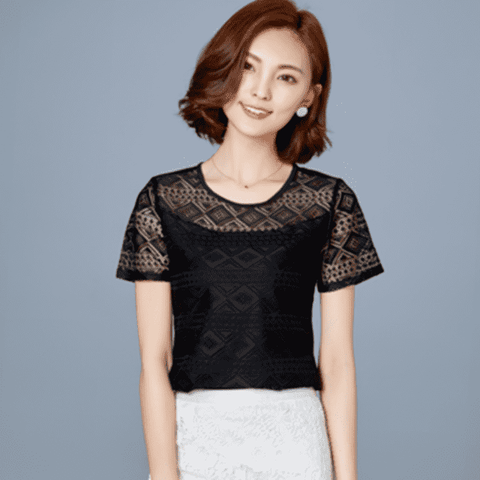 UbdehLwomen tops lace chiffon blouse white black pink blue short sleeve
