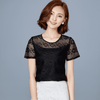 Image of UbdehLwomen tops lace chiffon blouse white black pink blue short sleeve