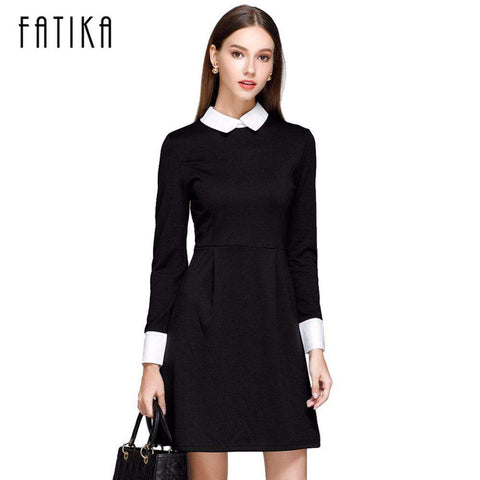 FATIKA Fashion Autumn Winter Women's Elegant Casual Dress Slim Peter pan Collar Collar Long Sleeve Black Dresses for Women - Coolmart.us