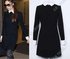 FATIKA Women's Elegant Casual Dress Slim, Long Sleeve Black Dresses