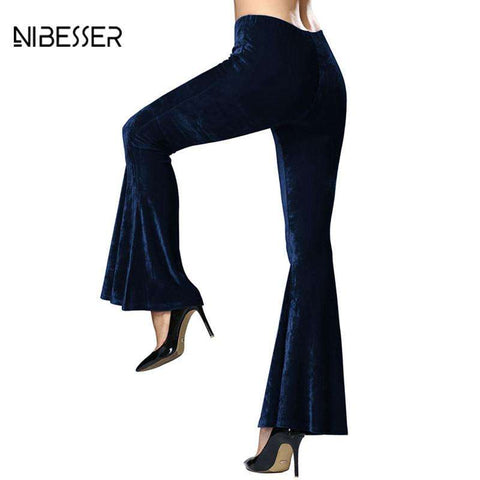 NIBESSER Autumn Winter Flare Pants Women Elegant Bottom Wide Ruffles Long Trousers Femme Low Waist Dancing Party Pantalones 2017 - Coolmart.us