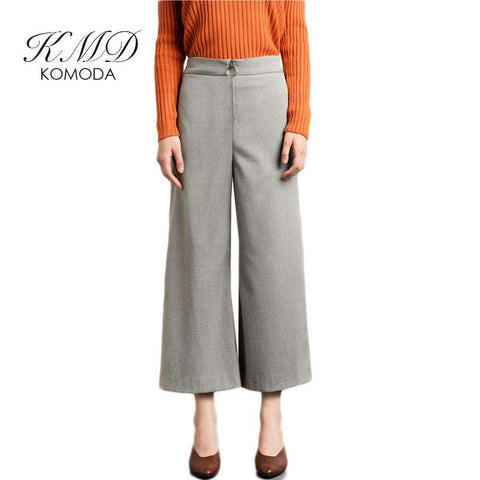 KMD KOMODA Gray Wed Leg Pants Women High Waist Elegant Bottoms Office Ladies Casual Brief Basic Bottoms Female - Coolmart.us
