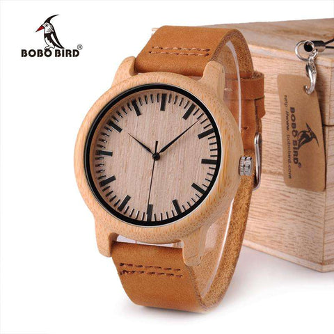 BOBO BIRD WA16 Watch for Men Women Bamboo Wood Quartz Watches With Scale Soft Leather Straps - Coolmart.us