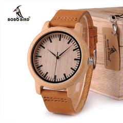 Image of BOBO BIRD WA16 Watch for Men Women Bamboo Wood Quartz Watches With Scale Soft Leather Straps