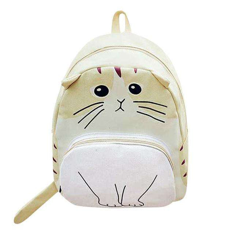 Women Canvas Lovely 3D Cartoon Cat Printed Large Capacity Backpack for Students
