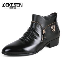 DEKESEN Men Genuine Leather Bullock Oxfords Dress Shoes