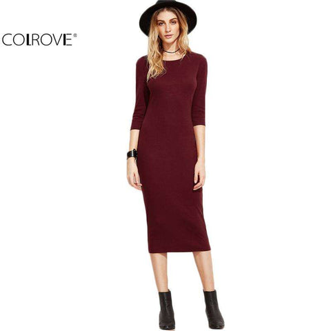 COLROVE Burgundy Bodycon Dress Office Ladies 2017 Womens Dresses  Autumn New Elegant Woman's Dress Women 3/4 Sleeve Pencil Dress - Coolmart.us