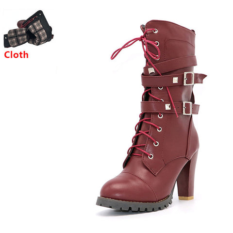 Buckle Zipper Rivets Lace up Leather boots