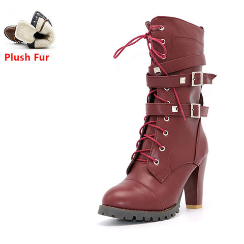 Buckle Zipper Rivets Lace up Leather boots - Coolmart.us