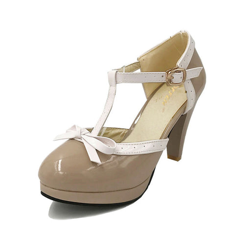 High Heel Sandals Round Toe Square Heels Shoes Women's Platform Sandals bow