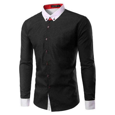 2016 New Clothing Men Long Sleeve Casual Shirts Camisa Slim Fit Patchwork Collar Masculina Social Chemise Homme Mens Shirt TU223