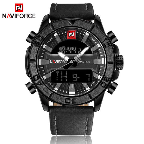 2017 NAVIFORCE Luxury Brand Men Fashion Sports Watches Men's Waterproof Quartz Date Clock Man Leather Army Military Wrist Watch - Coolmart.us