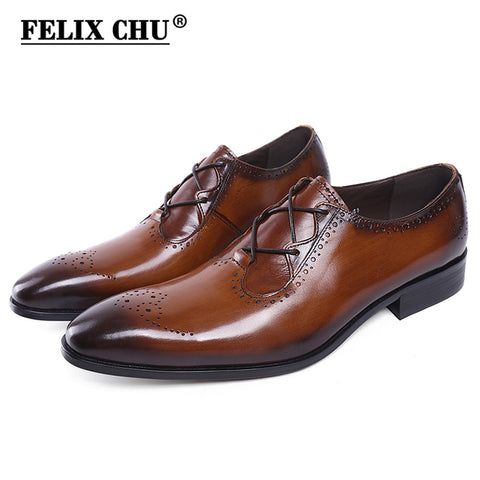 FELIX CHU New Design Luxury Genuine Leather Lace Up Modern Men Brogue Shoes Party Wedding Suit Formal Footwear Male Dress Shoes - Coolmart.us