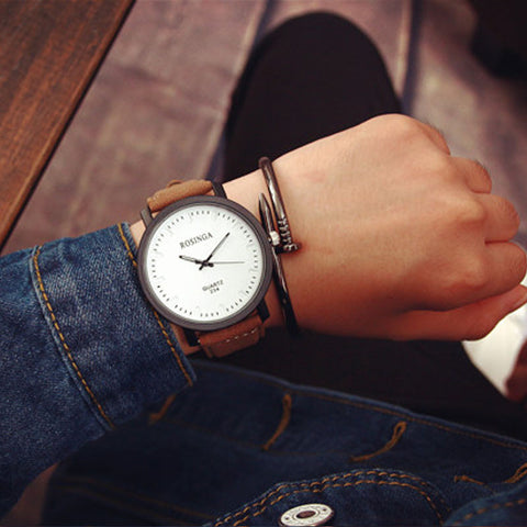 Fashion Watch Steel Case Men women Leather Quartz analog wrist Watch
