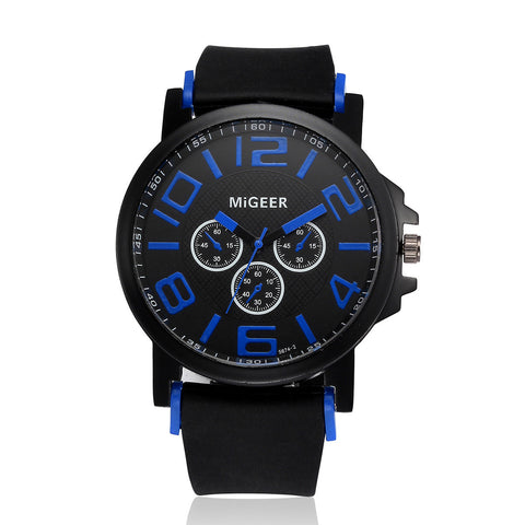 Men Fashion Silicone strap Sportol Quartz Hours Wrist Analog Watch