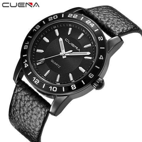 Fashion Men Casual Checkers Faux Leather Quartz Analog Wrist Watch - Coolmart.us