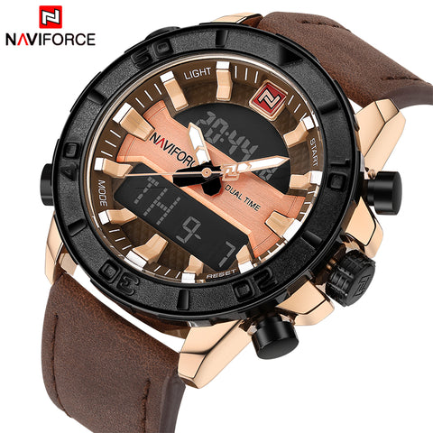 NAVIFORCE Brand Men Sport Watches Men's Quartz Analog Waterproof Clock Male Leather Army Military Wrist Watch Relogio Masculino - Coolmart.us