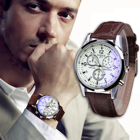 Fashion Luxury Faux Leather Mens Blue Ray Glass Quartz Analog Watches