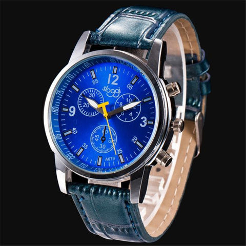 Luxury Fashion Crocodile Faux Leather Mens Analog Watch Wrist Watches