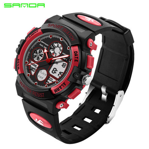 Sport Watch Double Display Cold Light Electronic Waterproof Mens Student